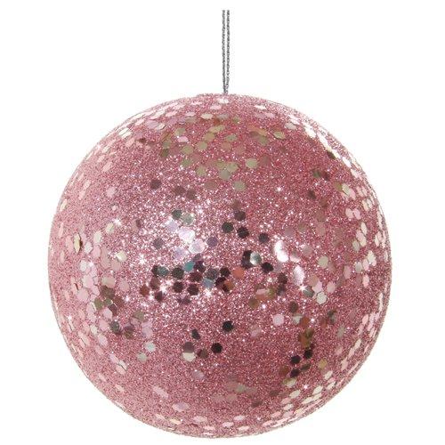 Елочный шар в блестках, 8 см, розовый