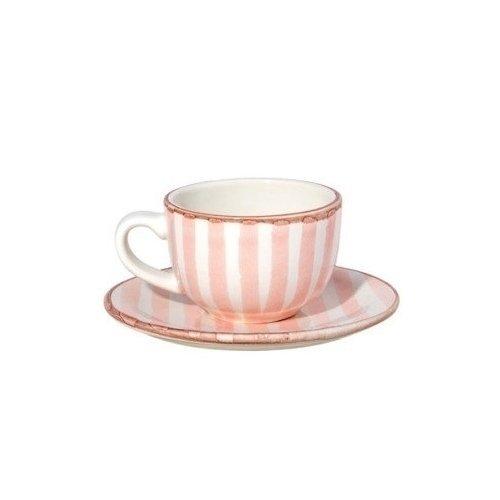"""Чашка с блюдцем """"Страйп"""", розовые, 0,2 л"""