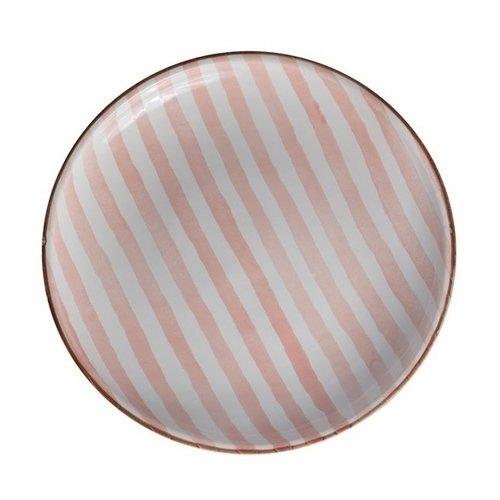 Тарелка Страйп без полей, 21 см, розовая тарелка страйп без полей 25 см синяя