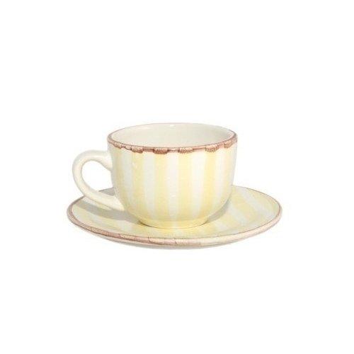 Чашка с блюдцем Страйп, 0,2 л, желтые чашка с блюдцем страйп розовые 0 2 л