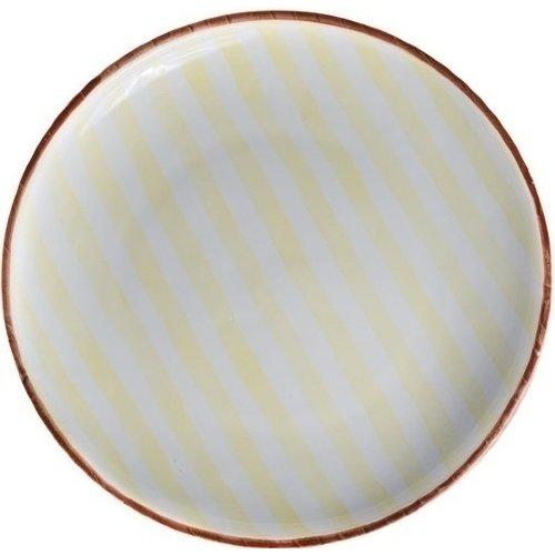 Тарелка Страйп, без полей, 27 см, желтая