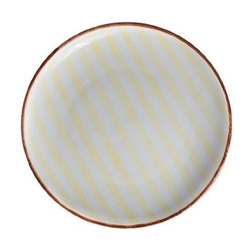 Тарелка Страйп, без полей, 21 см, желтая
