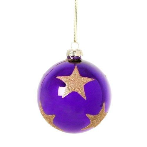 Елочное украшение Шар в звездах, стекло украшение елочное шар белка 7 см стекло