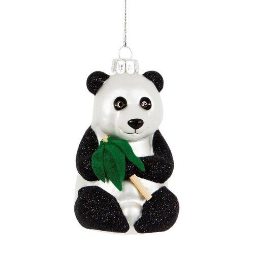 Елочное украшение Панда, стекло новогоднее подвесное украшение павлин цвет белый ручная роспись россия
