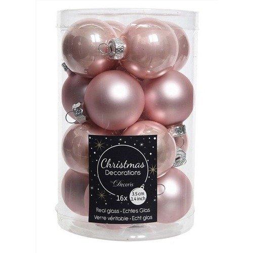 """Стеклянные шары """"Делюкс мини"""", 35 мм, нежно-розовые, 16 шт."""