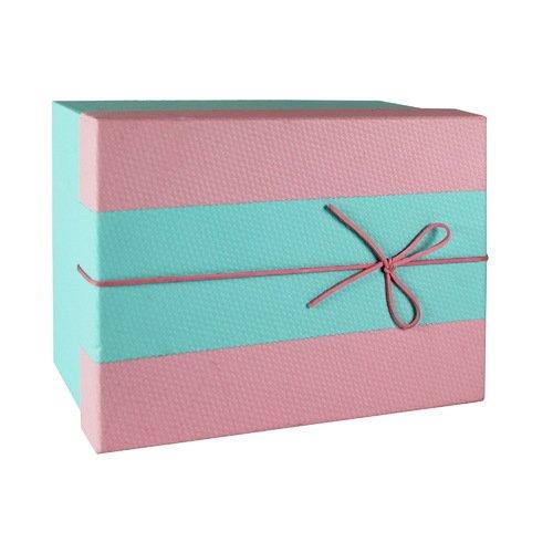 Коробка с бантиком, средняя, розово-голубая, 18 х 18 х 8 см коробка подарочная veld co свадебный бабочки цвет слоновая кость 18 х 18 х 26 см