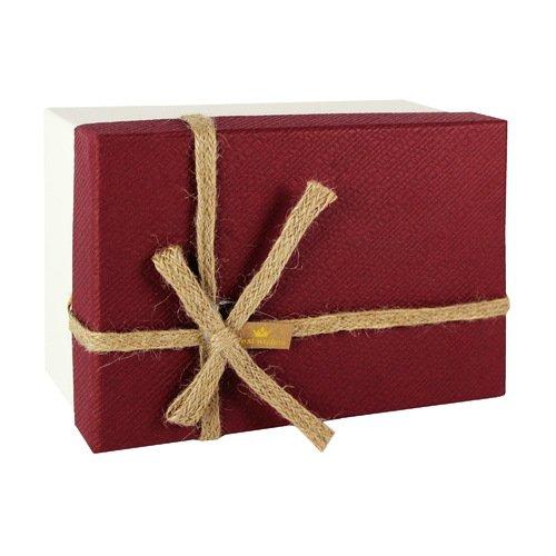 Коробка с бантиком, средняя, бордово-бежевая, 18 х 18 х 8 см коробка подарочная veld co свадебный бабочки цвет слоновая кость 18 х 18 х 26 см