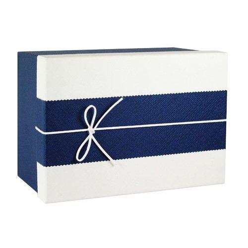 Коробка с бантиком, большая, 20 х 20 х 10 см, сине-бежевая (Made in Respublica*) Буденновск упаковка подарочная