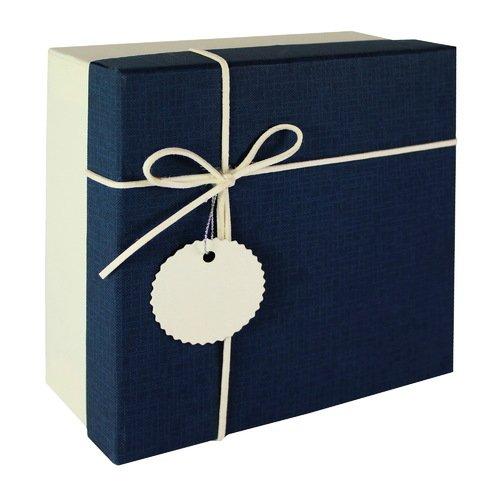 Коробка с бантиком, средняя, синяя, 18 х 18 х 8 см коробка подарочная veld co свадебный бабочки цвет слоновая кость 18 х 18 х 26 см