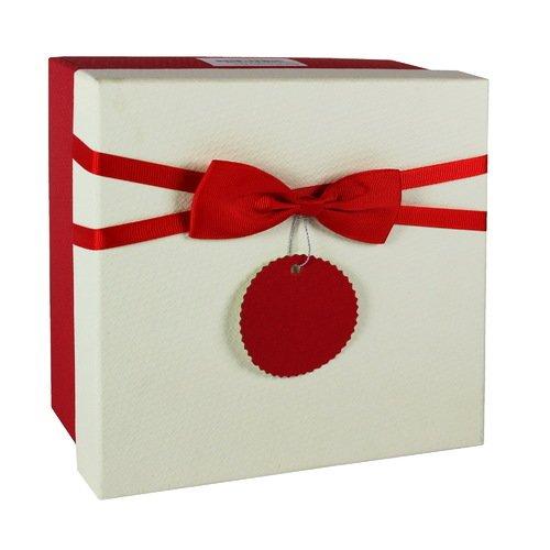 Коробка с бантиком, маленькая, лента красная, 16 х 16 х 7 см