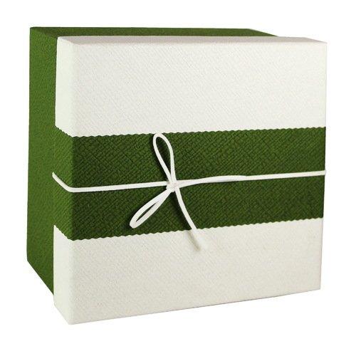 Коробка с бантиком, средняя, зелено-бежевая, 18 х 18 х 8 см кружка бежевая 8х9 8 см