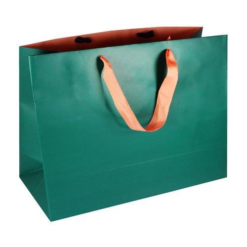 Подарочный пакет #008, зеленый, 40 x 30 15 см