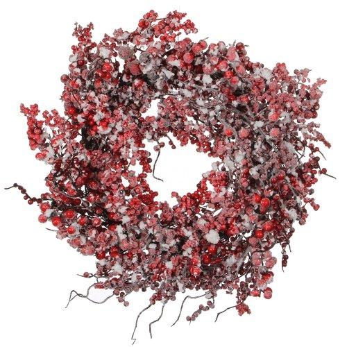 Декоративный венок с ягодами, красный, 50 см