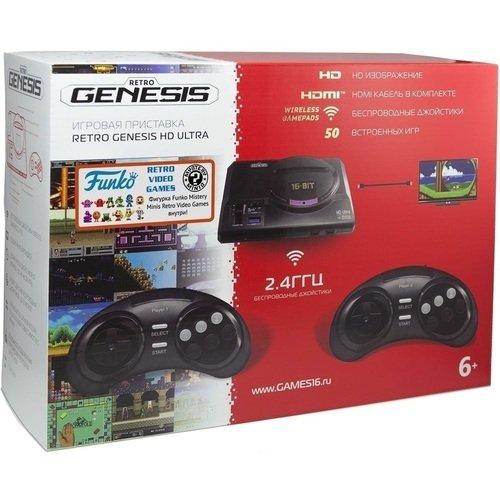 Игровая приставка Retro Genesis HD Ultra 2 + 50 игр, 2 беспроводных джойстика игровая приставка sega retro genesis hd ultra 50 игр