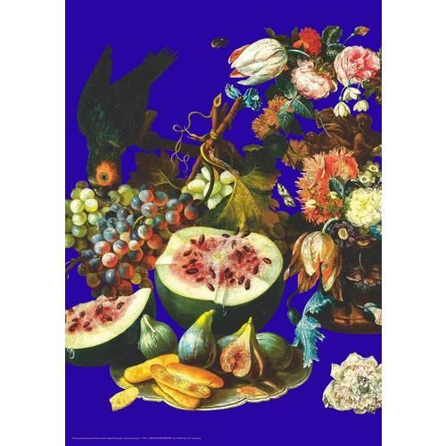 "Плакат ""Цветы и плоды на синем фоне"" А2"