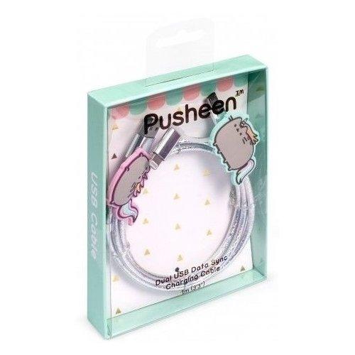 """Кабель для зарядки телефона """"Pusheen"""", 1 м, серебристый"""