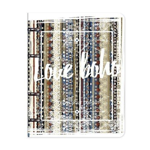 Тетрадь общая Boho на кольцах, 120 листов, в клетку, 16,3 х 21,2 см, синяя