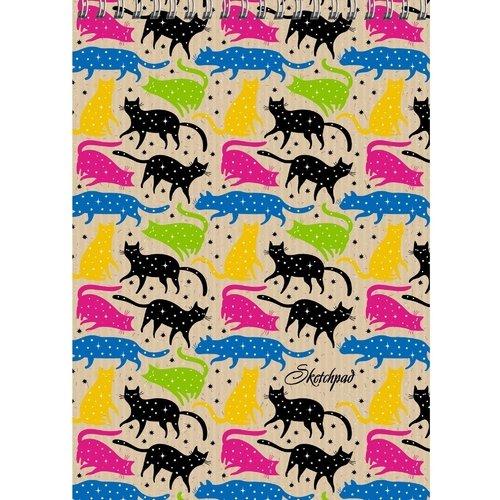 """Скетчпад """"Разноцветные коты"""" А5, 40 листов, 120 г/м2 цена в Москве и Питере"""