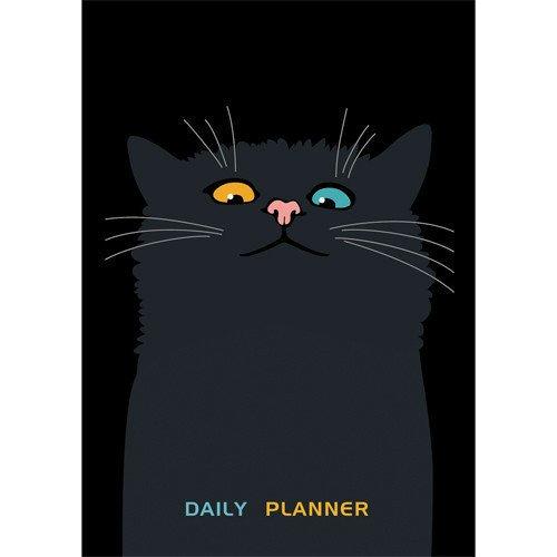 Ежедневник недатированный Черный кот А6, 160 листов ежедневник на кнопке kawaii factory большой кот лес 112 страниц формат а6