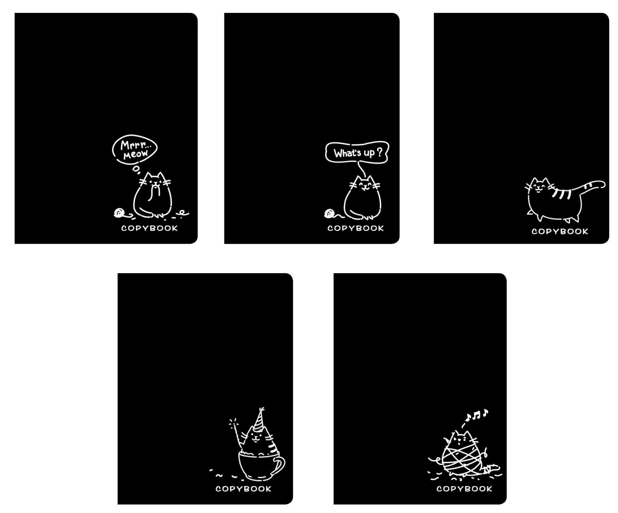 """Тетрадь """"TOTAL BLACK. Философия кота"""" А5, 48 листов, в клетку бренда Эксмо – купить по цене 60 руб. в интернет-магазине Республика, 514951."""