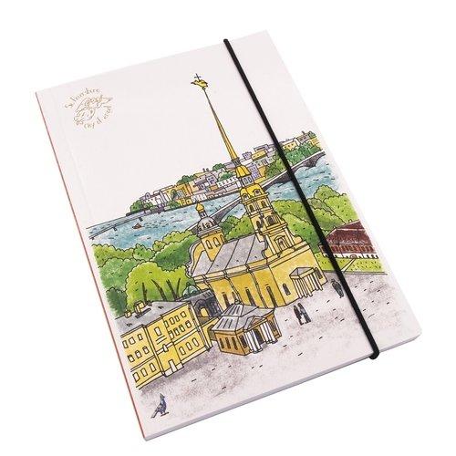 Блокнот на резинке Петропавловская крепость А5, 80 листов блокнот дудл а5 100 стр 80 г м2