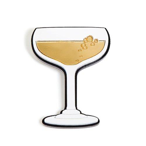 """Брошь """"Шампанское в бокале"""", золотистая"""