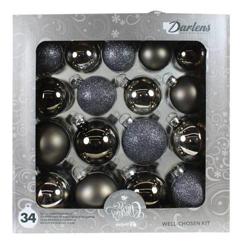 Набор из 34 стеклянных шаров, в ассортименте