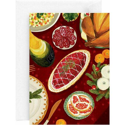 Открытка Новогодний стол, 13 х 18 см открытка свадьба 13 х 18 см