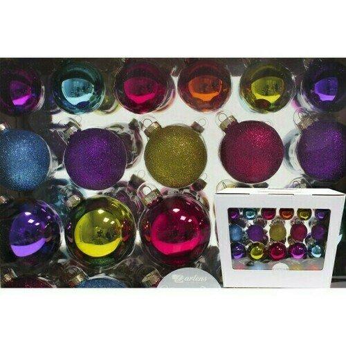 Фото - Набор из 42 стеклянных шаров: 50 мм х 12 шт., 57 мм х 10 шт., 67 мм х 20 шт., в ассортименте набор стеклянных шаров рождественские сны 60 мм 20 шт