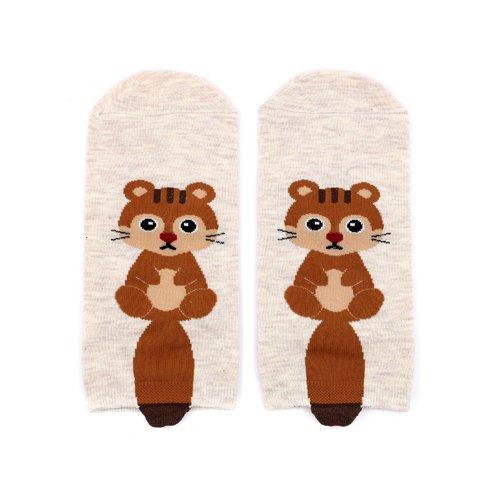 Короткие носки Krumpy «Котята с хвостом» 35-40, бежевые
