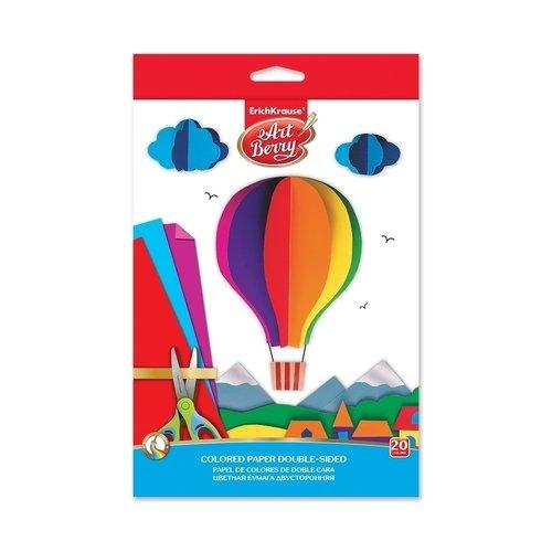 Цветная бумага двусторонняя мелованная в папке с подвесом ArtBerry В5, 10 листов, 20 цветов, игрушка-набор для детского творчества канцелярия апплика цветная бумага мелованная двусторонняя роботы а4 16 листов 16 цветов