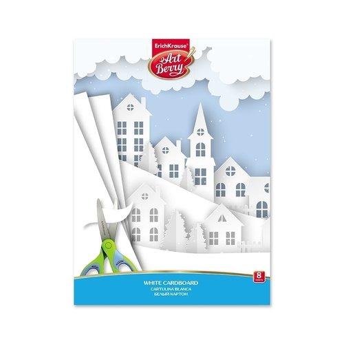 Белый картон мелованный в папке ArtBerry, А4, 8 листов, игрушка-набор для детского творчества